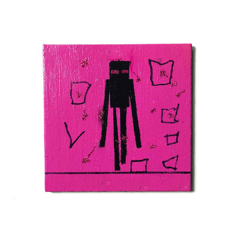 sarah schumacher mixed media art kid collaboration enderman minecraft art