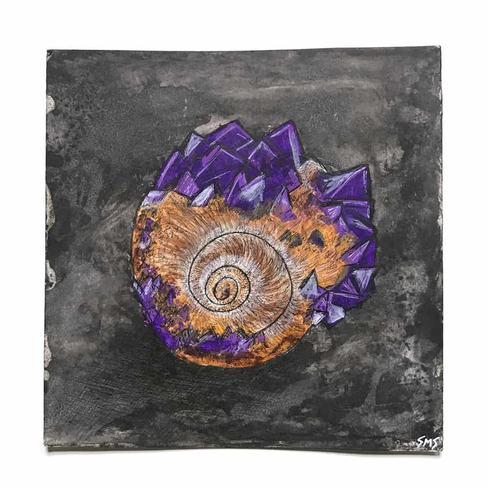 smsart sarah schumacher mixed media painting word of the day whelked snail shell crystals the100dayproject 100daysofartandessays
